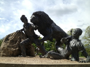 Incredible statue of David Livingstone being attacked by a lion in Africa. Livingstone Memorial, Blantyre