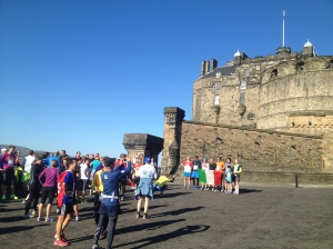 International runners at Edinburgh Castle during the ~5km International Breakfast Run, part of the Edinburgh Marathon Festival. Saturday, 25 May 2013