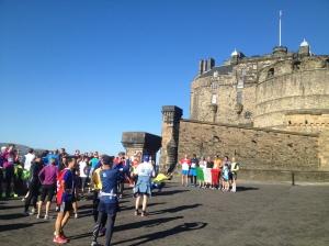 International runners at Edinburgh Castle during the ~5km International Breakfast Run, part of the Edinburgh Marathon Festival. Saturday, 25 May 2013