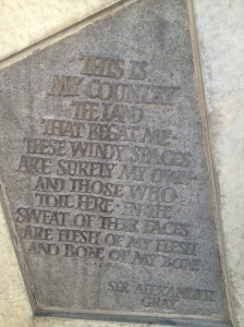 One of a number of poems and quotes on the outside wall of the Scottish Parliament in Edinburgh