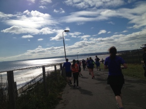 One of the breathtaking moments in a beautiful half marathon course through Edinburgh and along the Firth of Forth. Saturday, 26 May 2013