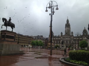 A rainy day in George Square, Glasgow