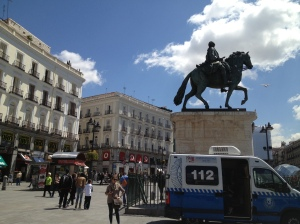 The calm before the storm in Puerta del Sol, Madrid as police await the protesters.