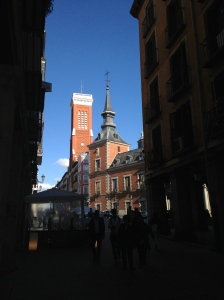 View up the street from the Plaza Mayor, Madrid