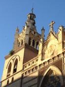 Evening sun lighting up a church in Granada