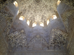 One of many intricately-designed ceilings at Alhambra