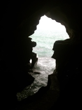 The cave where Hercules is said to have rested, Tangiers. Viewed backwards on the right angle, the outline of the cave forms the map of Africa.