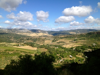 Views of the countryside from the cliffs at Ronda