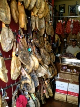 A tasty selection of meats, cheeses and olives for sale in Ronda