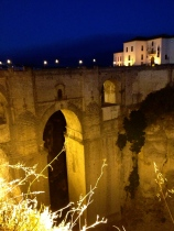 The new bridge of Ronda by night, from one side