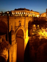 The new bridge of Ronda by night, from the other side.