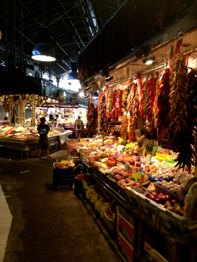 Markets in the Gothic quarter of Barcelona.