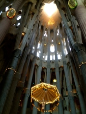 Jesus appears suspended from a parachute in the main nave at the Basilica of the Sagrada Familia.