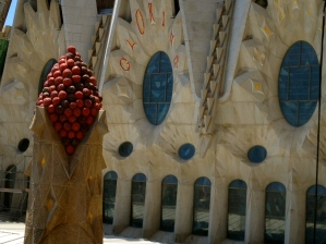 The tops of all the spires at the Sagrada Familia are all highly decorated.