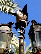 One of Gaudi's first and only public commissions - the lamps for the Plaza Reial in Barcelona.