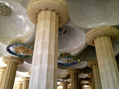 A forest of columns and mosaics at Park Guell, Barcelona.