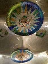These mosaics feature on the ceilings at the Park Guell.