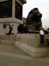 Next time you're in Trafalgar square, take a moment to watch people struggling their way up onto the platforms with the lions. It's hilarious! Loved this particularly moment with one schoolgirl pulling another one up!