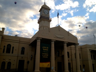 What town hall wouldn't look enhanced by some nice clouds and a few balloons?