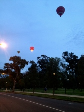 Another early morning running shot of balloons over the Tan in Melbourne.