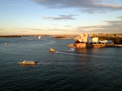 More ferry ballet as the Opera House glows in the setting sun.