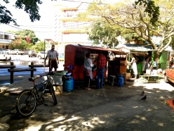 Street food vendors in Grand Baie.