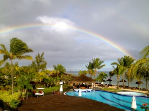 A beautiful rainbow that brightened up breakfast at the hotel.