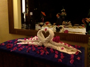 These towel swans were sitting outside the reception room for a wedding at the hotel.
