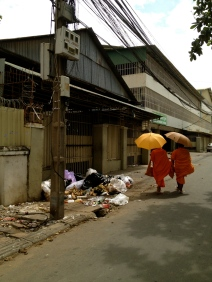 I hesitated about including this shot because it's not the most flattering image of Phnom Penh, but it is the reality of what you will see in some streets.