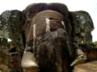 The East Mebon temple ruin is famous for its life-sized elephant statues.