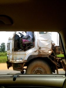 Not the world's best photo, but any snap of a truck going past with no door seemed worth including.