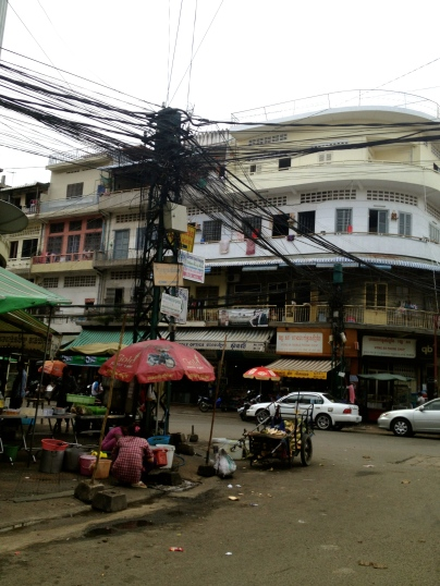 A typical intersection in downtown Phnom Penh.