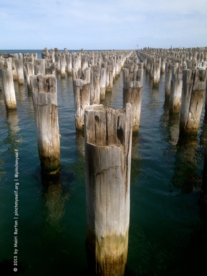 What's left of the heritage-listed Princes Pier, built between 1912 and 1915. The Princes Pier was the third pier built in Port Melbourne and it served as a passenger and cargo terminal until its closure in 1989.