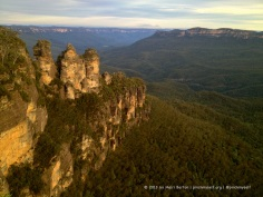 The Three Sisters at sunset.