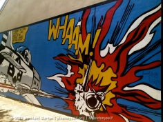 Amazing cartoon-style piece of fighter jets battling it out.