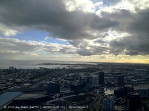 This one looks out across Melbourne's Yarra River to Port Melbourne and Port Phillip Bay.