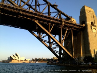 Is this a picture of the Sydney Opera House framed by the Sydney Harbour Bridge, or the other way around?
