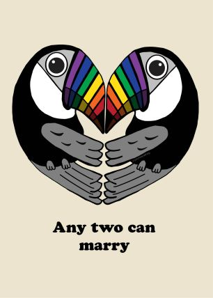 """Marriage Equality Twocans. Poster Heroes: """"Rights in Love"""" - 2016"""